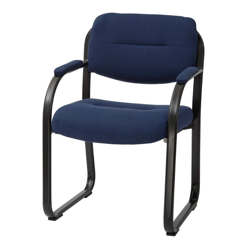 Work Smart Deluxe Indigo Fabric Visitors Chair with Sled Base' Padded Arms and Heavy Duty Metal Sled Base