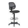 "Work Smart Deluxe Mesh Back Drafting Chair with 20"" Diameter Foot Ring in Black"