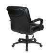 Work Smart Deluxe Mid Back Executive Black Glove Soft Leather Chair with Padded Loop Arms