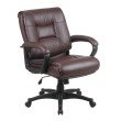 Work Smart Deluxe Mid Back Executive Burgundy Glove Soft Leather Chair with Padded Loop Arms