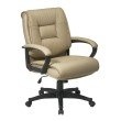 Work Smart Deluxe Mid Back Executive Tan Glove Soft Leather Chair with Padded Loop Arms