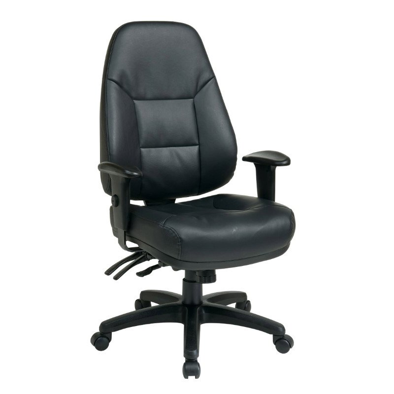 Work Smart Deluxe Multi Function High Back Black Bonded Leather Chair with Ratchet Back and 2-Way Adjustable Arms