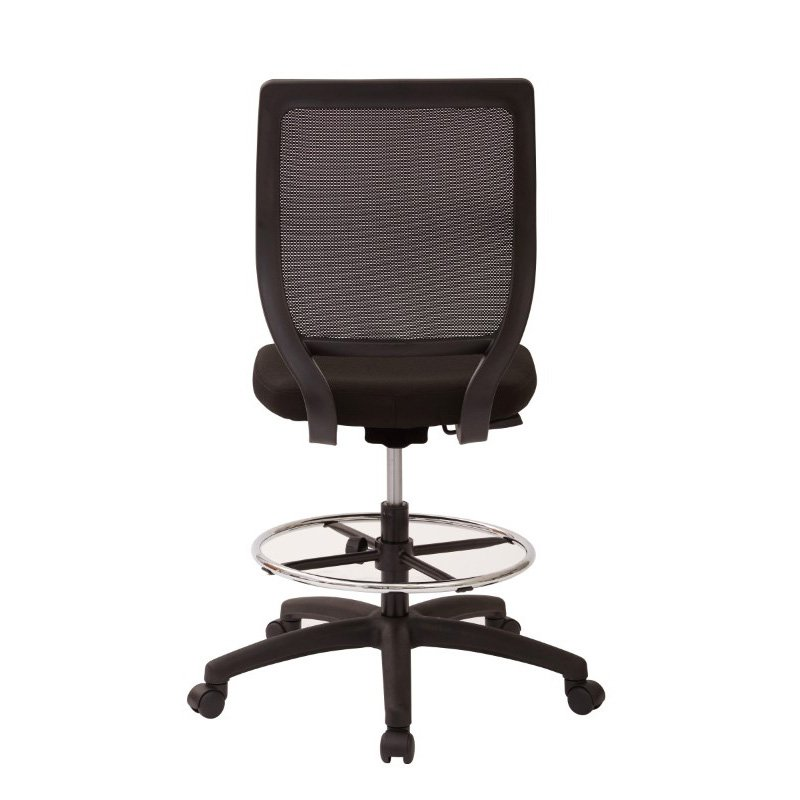 Work Smart Deluxe Woven Mesh Back Armless Drafting Chair in Icon Black Fabric Seat with Adjustable footring and Dual Wheel Carpet Casters