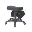 Work Smart Ergonomically Designed Knee Chair Featuring Memory Foam and Coal Fabric with Five Star Base with Dual Wheel Carpet Casters