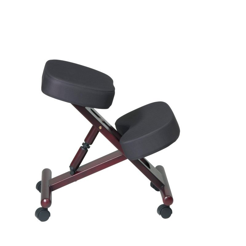 Work Smart Ergonomically Designed Mahogany Finish Wood Knee Chair Featuring Memory Foam and Coal Fabric with Dual Wheel Carpet Casters