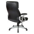 Work Smart Executive Black Bonded Leather Chair with Adjustable Padded Arms and Coated Nylon Base with Silver Finish