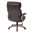 Work Smart Executive Bonded Chestnut Leather Chair with Padded Height Adjustable Arms and Cocoa Coated Nylon Base