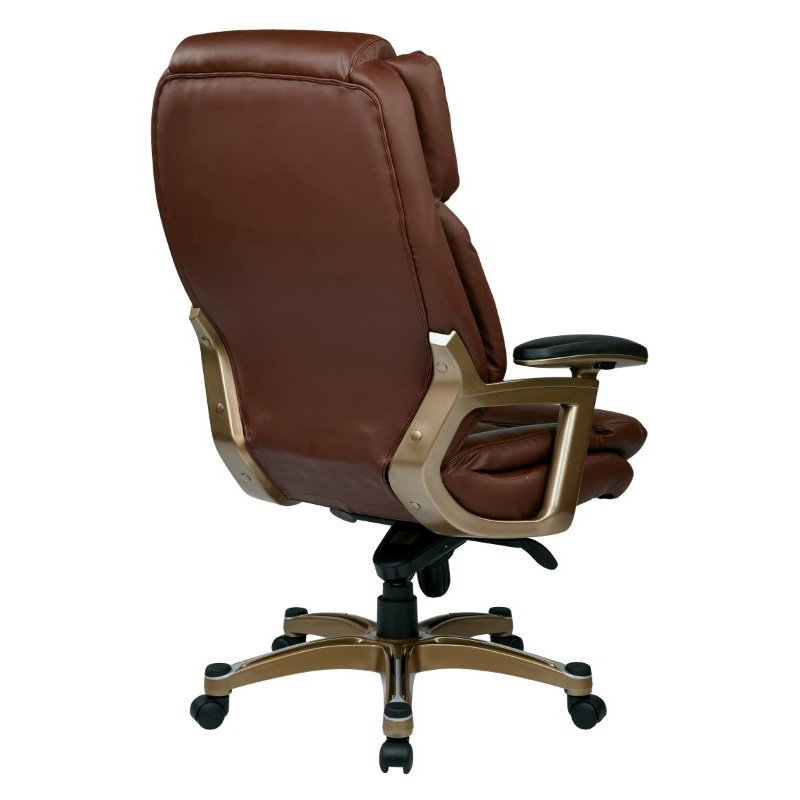 Work Smart Executive Bonded Leather Chair in Cocoa and Wine