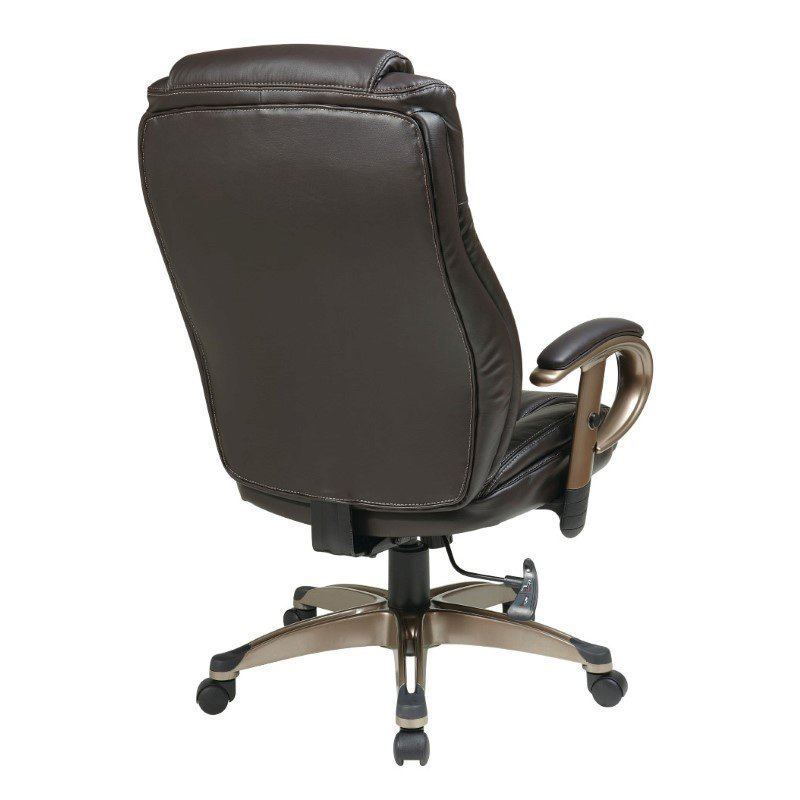Work Smart Executive Bonded Leather Chair in Cocoa Finish and Espresso