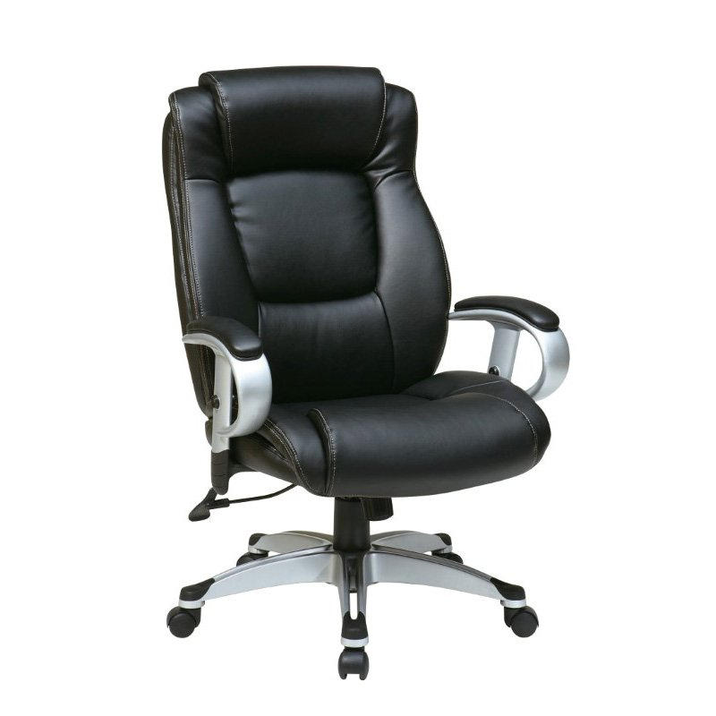 Work Smart Executive Bonded Leather Chair in Silver and Black Finish