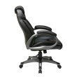 Work Smart Executive Bonded Leather Chair with Padded Arms and Coated Base in Black