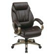 Work Smart Executive Bonded Leather Chair with Padded Arms and Coated Base in Espresso