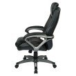 Work Smart Executive Bonded Leather Chair with Padded Arms' Headrest and Coated Base in Black