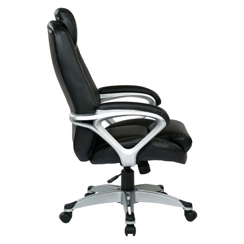 Work Smart Executive Bonded Leather Chair with Padded Arms' Headrest and Coated Base in Black Finish