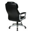 Work Smart Executive Bonded Leather Chair with Padded Arms in Black