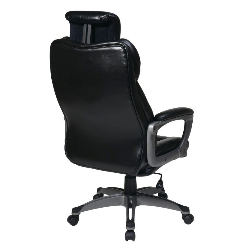 Work Smart Executive Bonded Leather Chair with Padded Arms in Black Finish