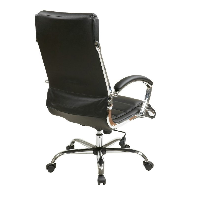 Work Smart Executive Chair with thick padded Black faux leather seat and back with built-in lumbar support and Chrome Finish Base