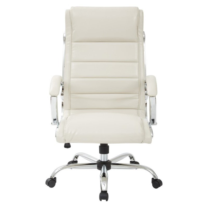 Work Smart Executive Chair with thick padded Cream faux leather seat and back with built-in lumbar support and Chrome Finish Base