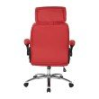 Work Smart Executive Faux Leather Chair with Metal Chrome Base and Red Faux Leather