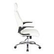 Work Smart Executive Faux Leather Chair with Metal Chrome Base and White Faux Leather