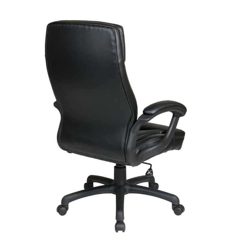 Work Smart Executive High Back Black Bonded Leather Chair with Locking Tilt Control and Two Tone Stitching