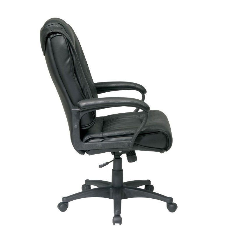 Work Smart Executive High Back Black Glove Soft Leather Chair with Padded Loop Arms