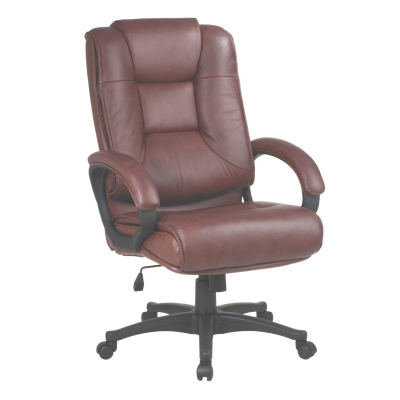 Work Smart Executive High Back Saddle Glove Soft Leather Chair with Padded Loop Arms