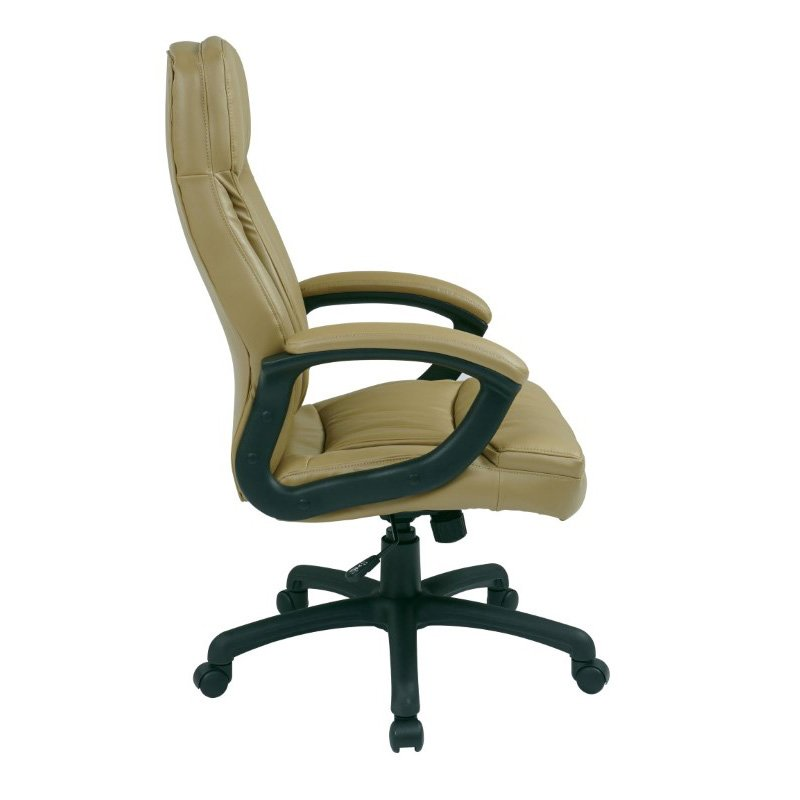Work Smart Executive High Back Tan Bonded Leather Chair with Locking Tilt Control and Color Match Stitching