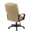 Work Smart Executive High Back Tan Glove Soft Leather Chair with Padded Loop Arms