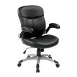 Work Smart Executive Mid Back Bonded Leather Chair with Adjustable Padded Flip Arms in Black