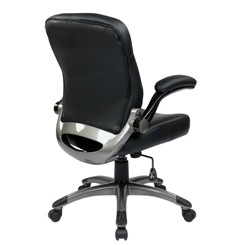 Work Smart Executive Mid Back Bonded Leather Chair with Adjustable Padded Flip Arms in Black Finish