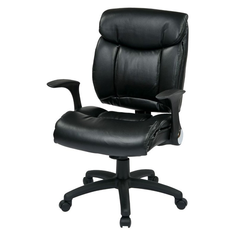 Work Smart Faux Leather Managers Chair with Flip Arms in Black
