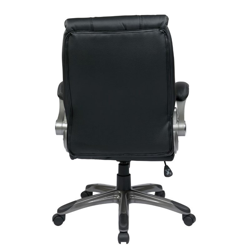 Work Smart Faux Leather Mid Back Managers Chair with Padded Flip Arms in Black