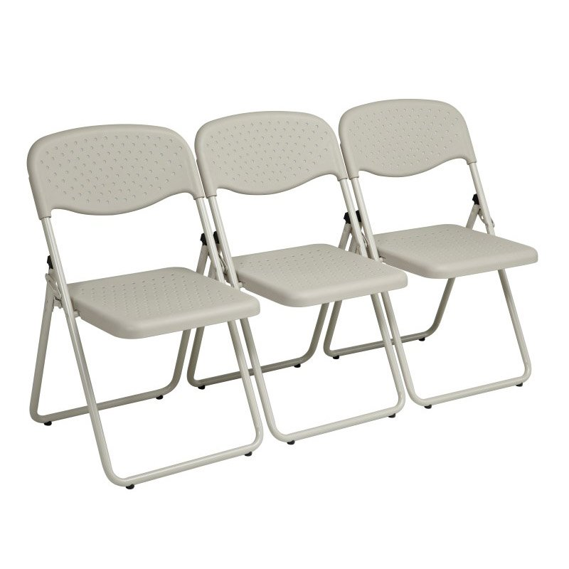 Work Smart Folding Chair with Beige Plastic Seat and Back and Beige Frame (Set of 4)