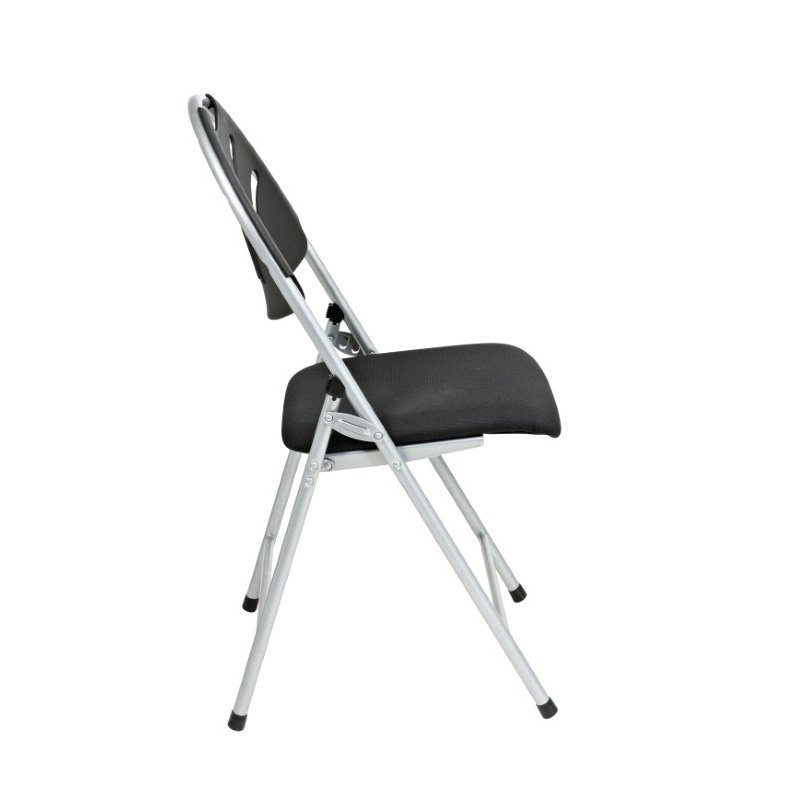 Work Smart Folding Chair with Black Plastic Fan Back and Fabric Seat with Silver Frame (Set of 4)