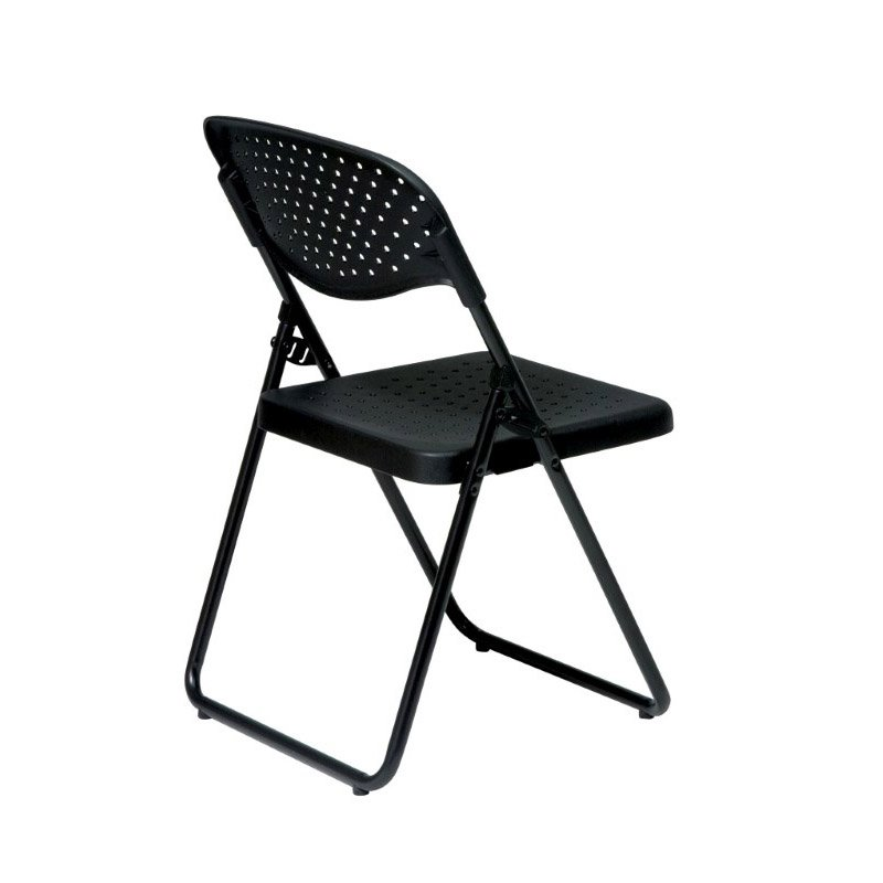 Work Smart Folding Chair with Black Plastic Seat and Back and Black Frame (Set of 4)