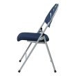 Work Smart Folding Chair with Blue Plastic Fan Back and Fabric Seat with Silver Frame (Set of 4)