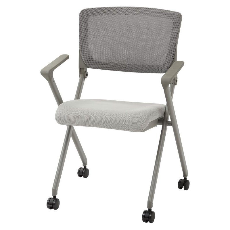 Work Smart Folding Chair with breathable Mesh Back and Seat in Grey Finish Frame (Set of 2)