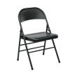 Work Smart Folding Chair with Metal Seat and Back in Black