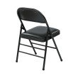 Work Smart Folding Chair with Vinyl Seat and Back in Black (Set of 4)