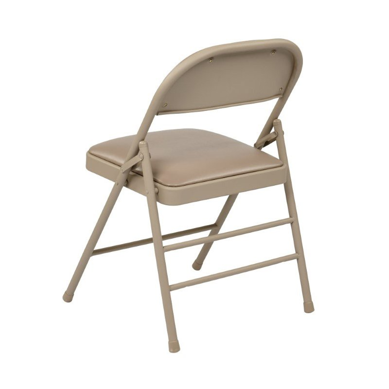 Work Smart Folding Chair with Vinyl Seat and Back in Tan (Set of 4 )