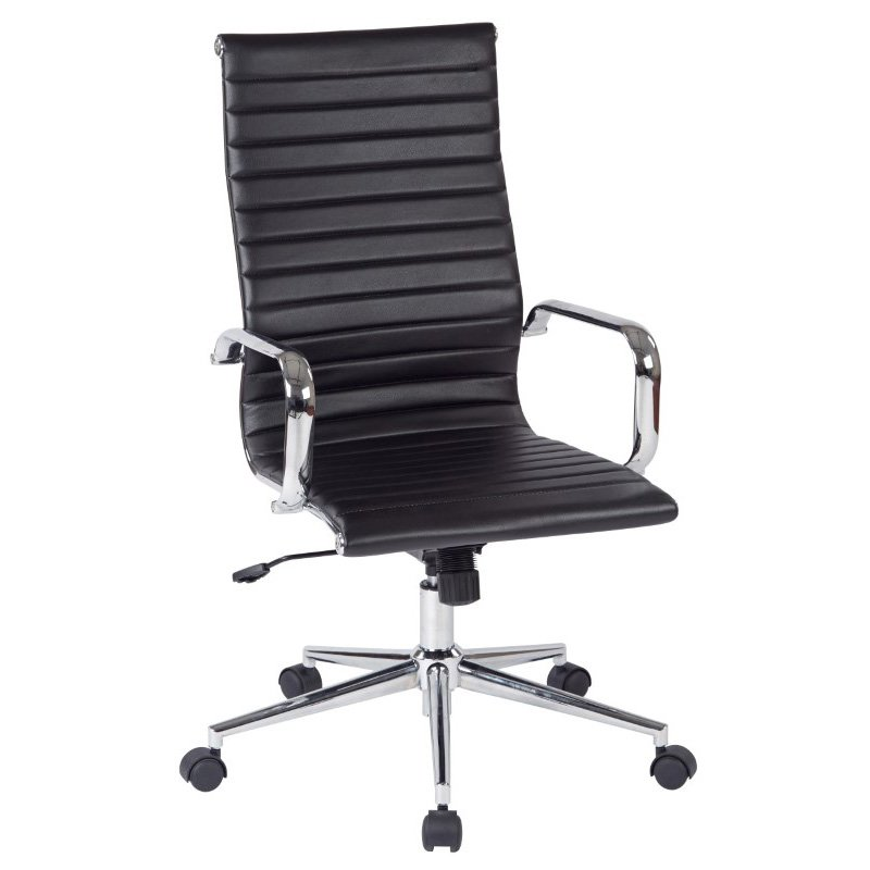 Work Smart High Back Black Faux Leather Office Chair with Arms' Chrome Finish Base and Accents