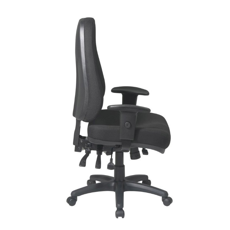Work Smart High Back Multi Function Ergonomic Chair with Ratchet Back Height and 2-way Adjustable Arms