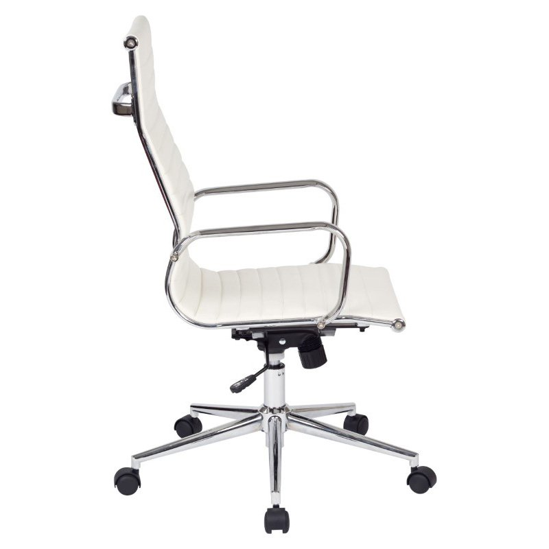 Work Smart High Back White Faux Leather Office Chair with Arms' Chrome Finish Base and Accents
