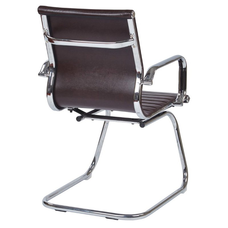 Work Smart Mid Back Chocolate Faux Leather Office Chair with Chrome Arms and Sled Base