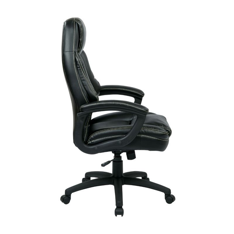 Work Smart Oversized Executive Black Faux Leather Chair with Padded Arms