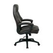 Work Smart Oversized Executive Espresso Faux Leather Chair with Padded Arms