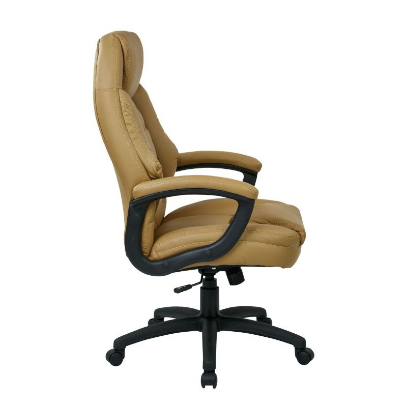 Work Smart Oversized Executive Tan Faux Leather Chair with Padded Arms