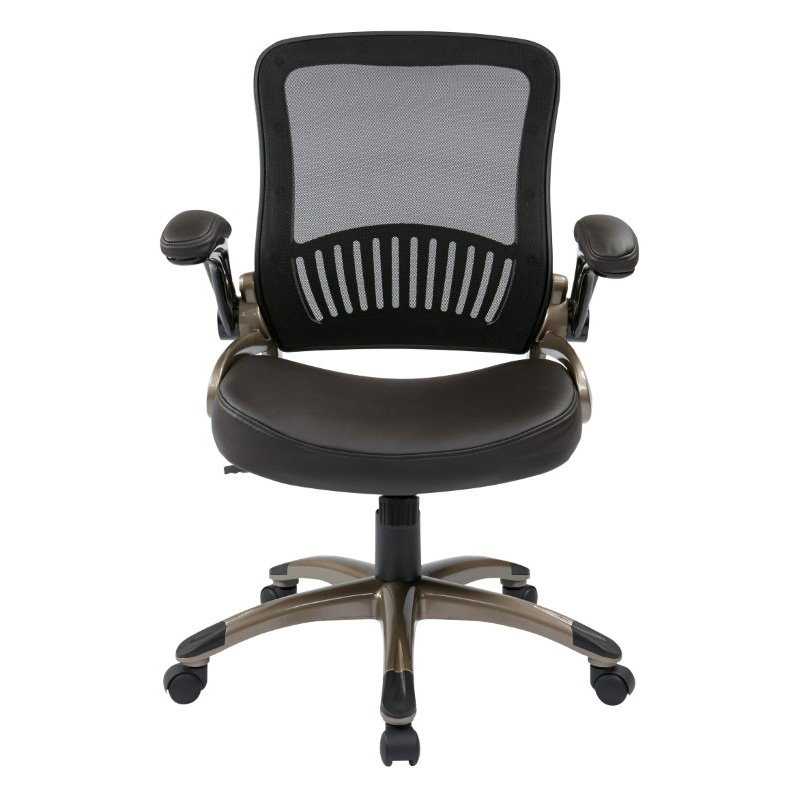 Work Smart Screen Back and Bonded Leather Seat Managers Chair in Espresso