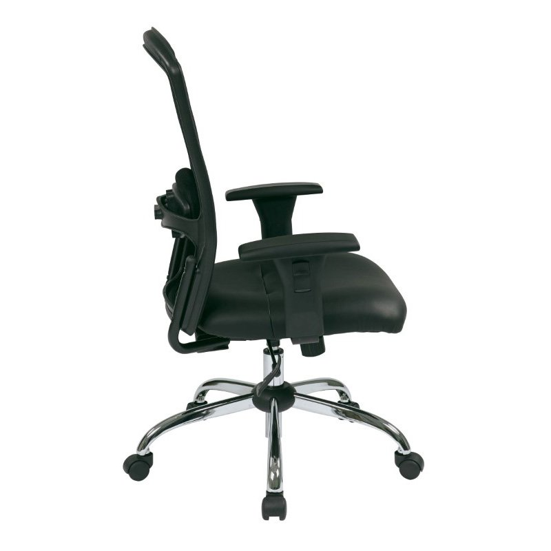 Work Smart Screen Back Chair with Leather Seat